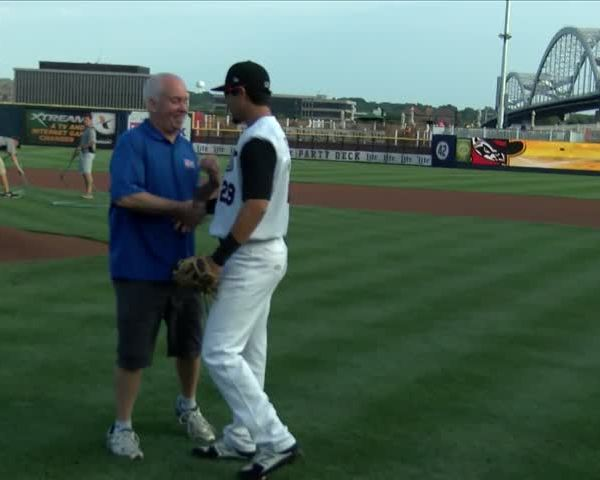 Jay Kidwell throws out first pitch at Bandits game