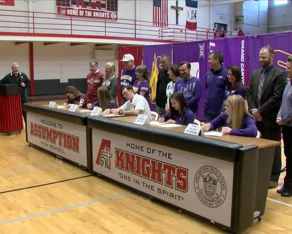 Several Assumption athletes sign with college programs