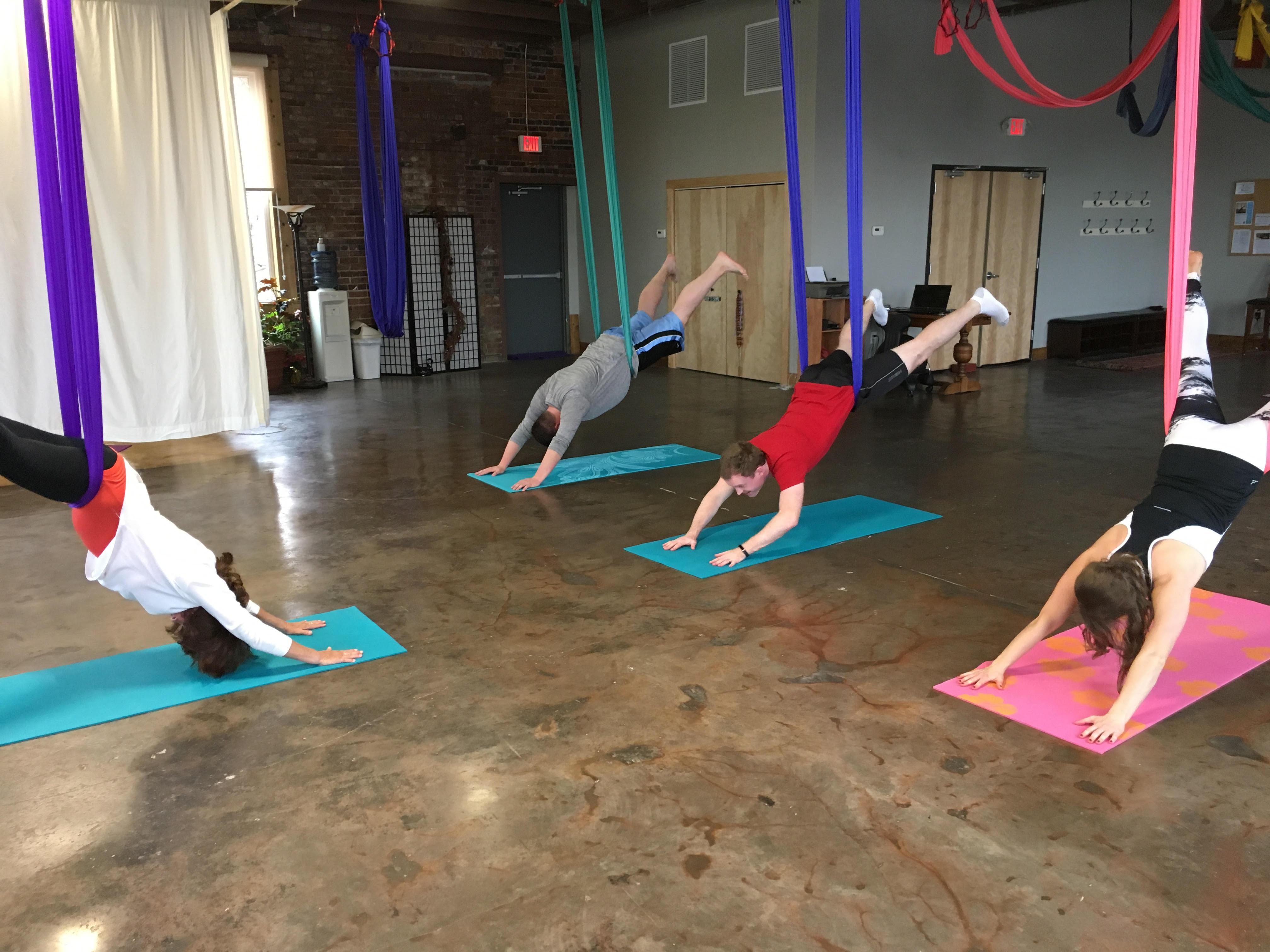 Morning Team Learns Aerial Yoga
