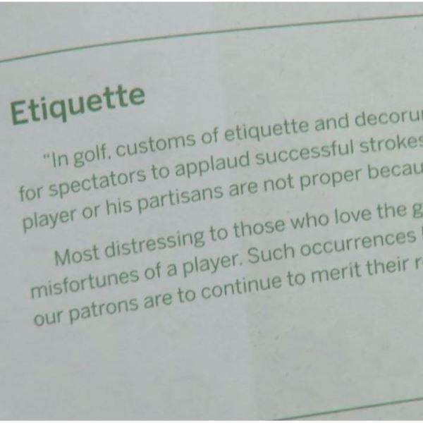 Decorum at Augusta National Golf Club