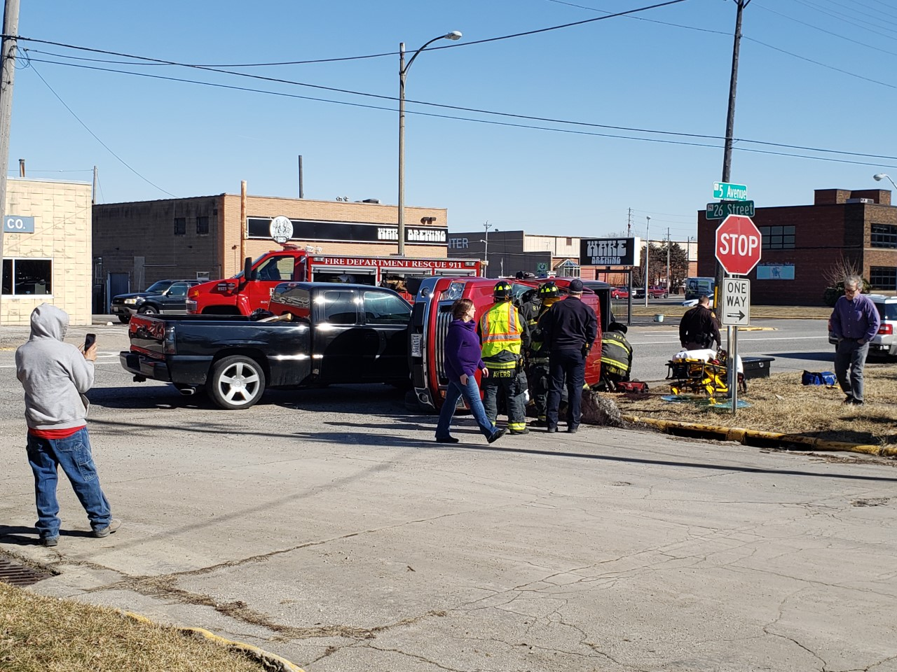 Roll-over accident in Rock Island on February 21 (photo: Bryan Bobb, OurQuadCities.com)