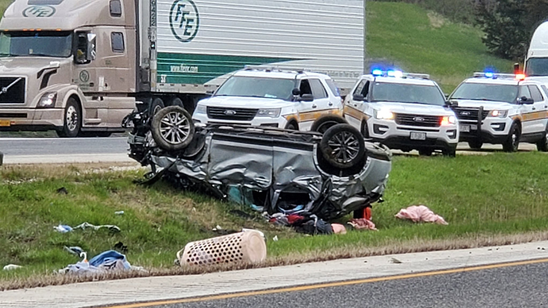 Emergency crews respond to a rollover accident on I-80 on April 24, 2020 (photo: Ryan Risky, OurQuadCities.com).