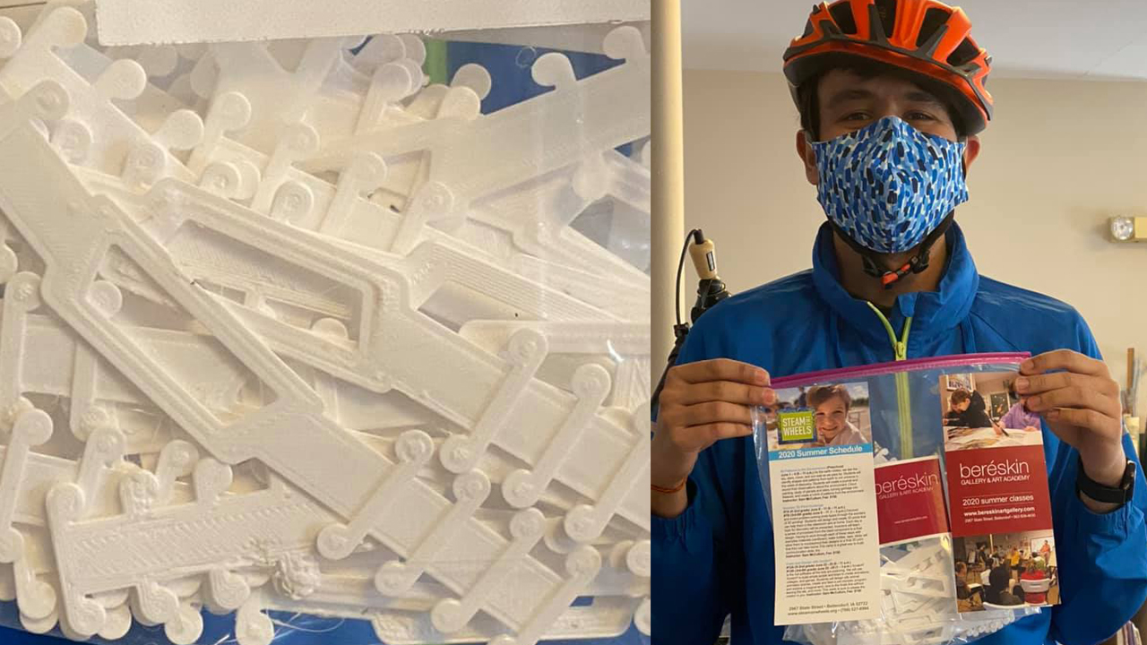 STEAM on Wheels students produced 3D printed extenders for face shields and masks (photo: Pat Bereskin, Beréskin Gallery & Art Academy).