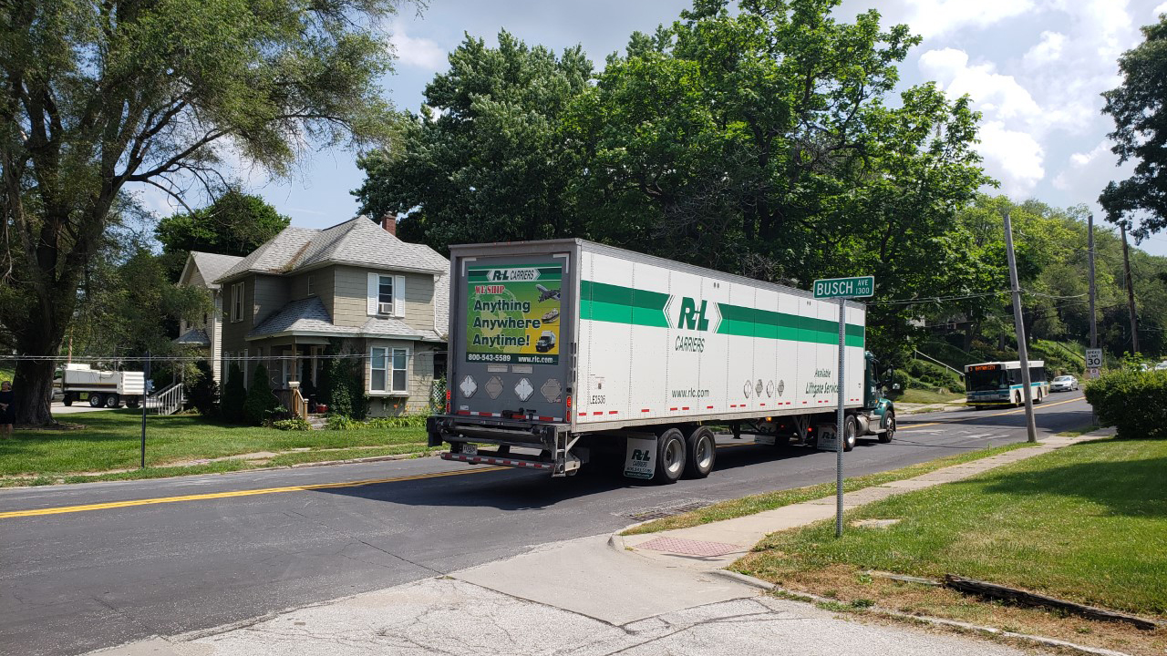 A semi truck struck overhead lines on Middle Road in Davenport on June 7, 2020 (photo: Bryan Bobb, OurQuadCities.com).