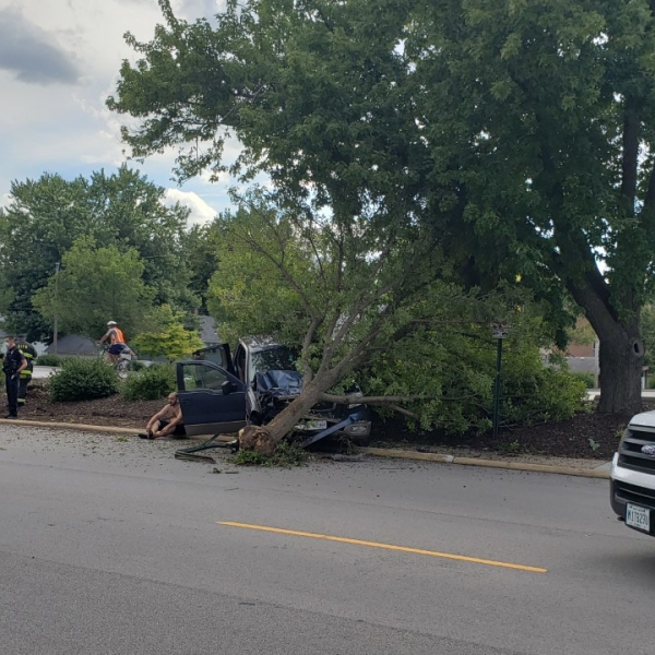 A truck struck a tree on 38th Street near 11 Avenue in Rock Island on August 1, 2020 (photo: Bryan Bobb, OurQuadCities.com).