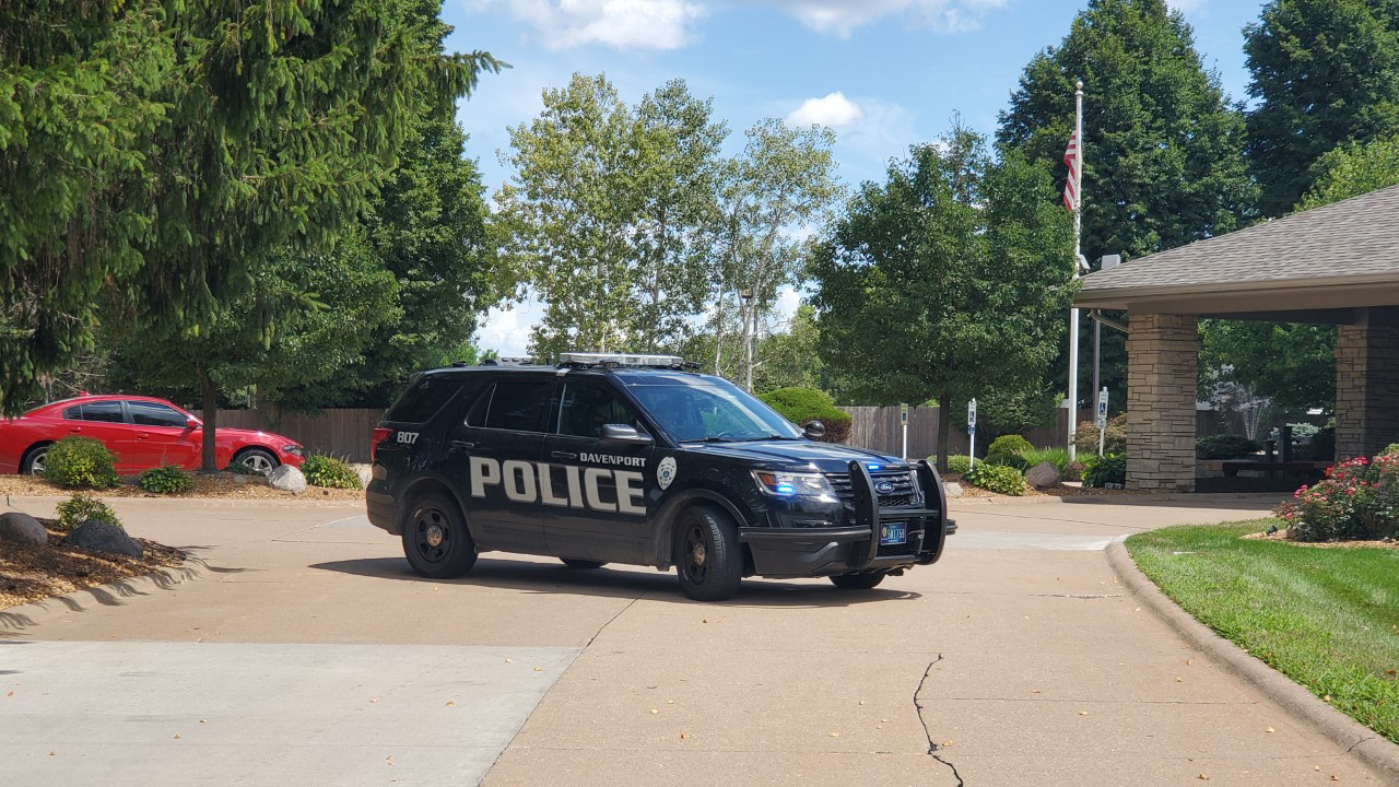 Davenport Police investigate a possible shooting at Weerts Funeral Home on August 1, 2020 (photo: Ryan Risky, OurQuadCities.com).