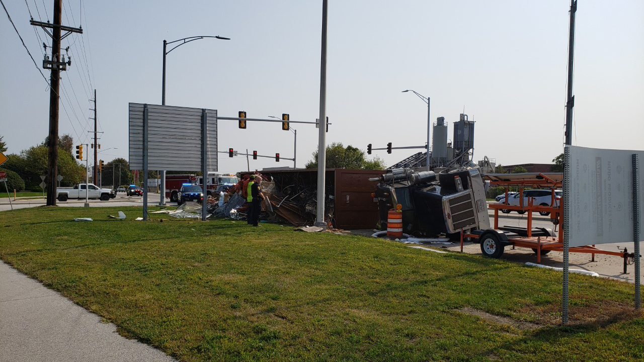 A semi overturned on River Drive in Moline on September 22, 2020 (photo: Bryan Bobb, OurQuadCities.com).