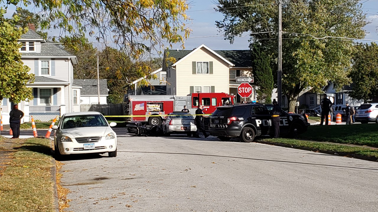 Emergency crews tend to a motorcycle and car accident at Harrison and Columbia Streets in Davenport on October 14, 2020 (Bryan Bobb, OurQuadCities.com).