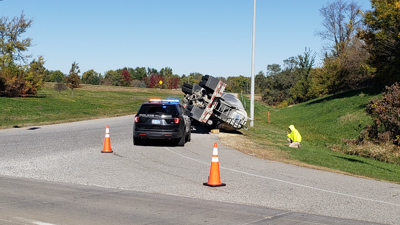 A semi tanker truck rolled over on the westbound I-280 ramp off of River Drive in Davenport on October 15, 2020 (photo: Bryan Bobb, OurQuadCities.com).