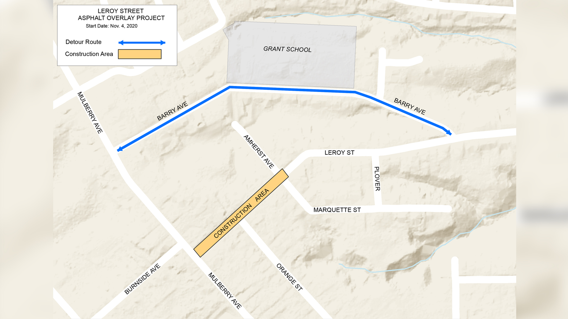 A map showing the construction area of Leroy Street for repaving and the detour on Barry Avenue in Muscatine.