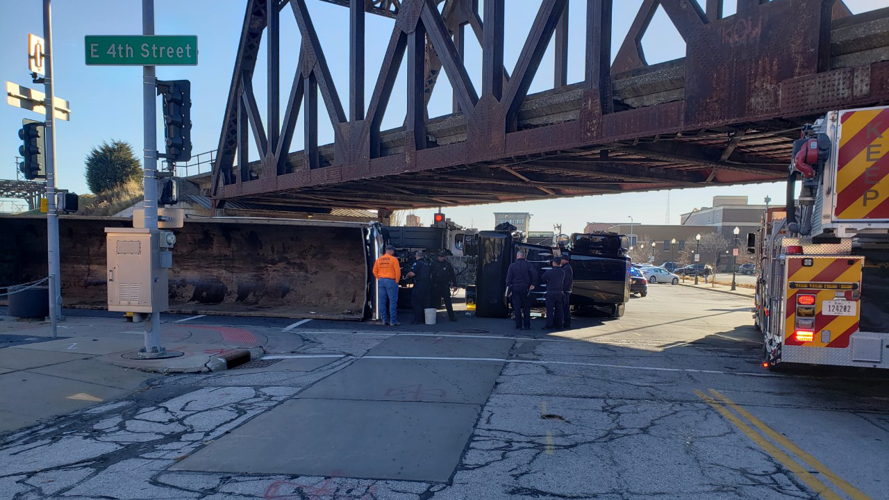 A semi rolled over at the intersection East 4th Street and Pershing Avenue in downtown Davenport on December 9, 2020 (photo: Bryan Bobb, OurQuadCities.com).