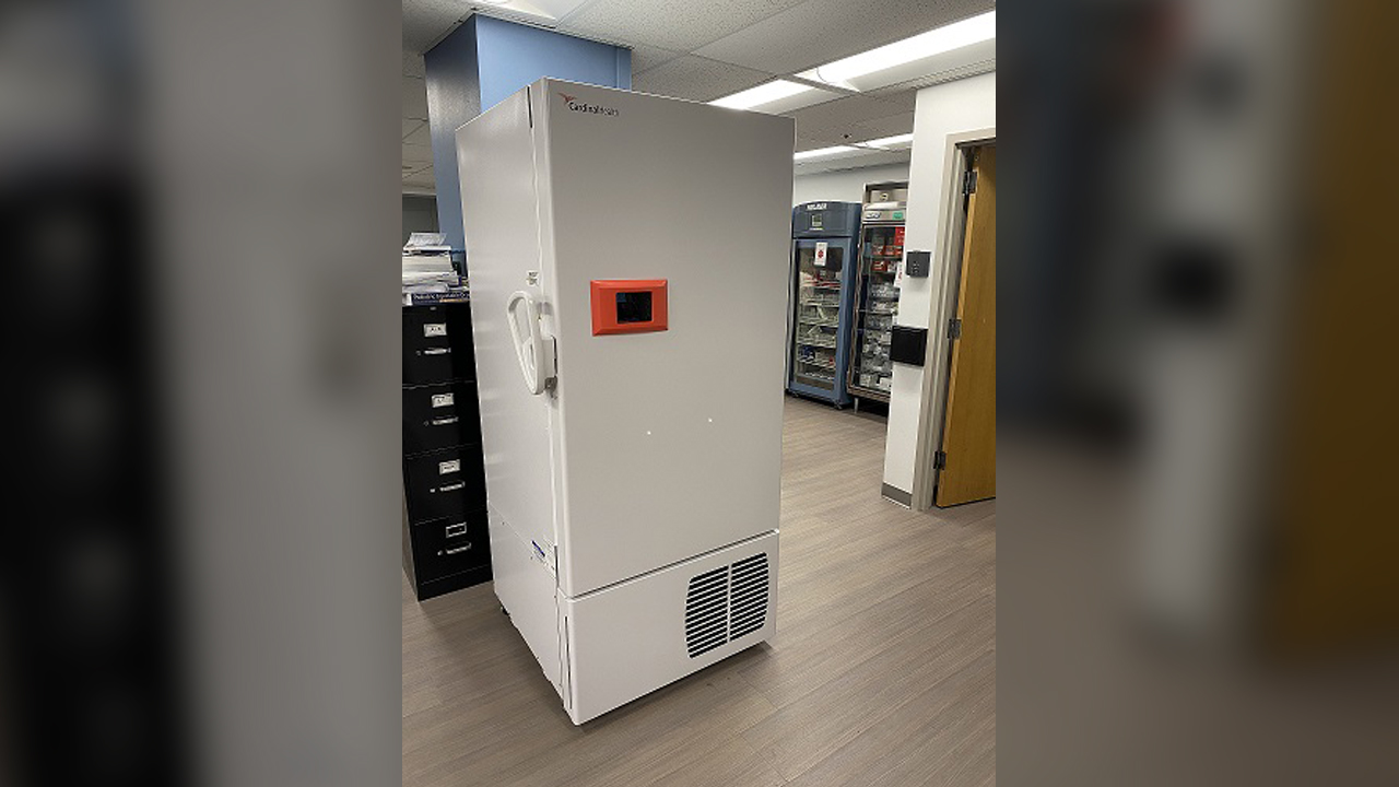Pictured is the upright freezer that Genesis has purchased, along with two smaller freezers (not pictured), to help store the Pfizer COVID-19 vaccine when it becomes available.