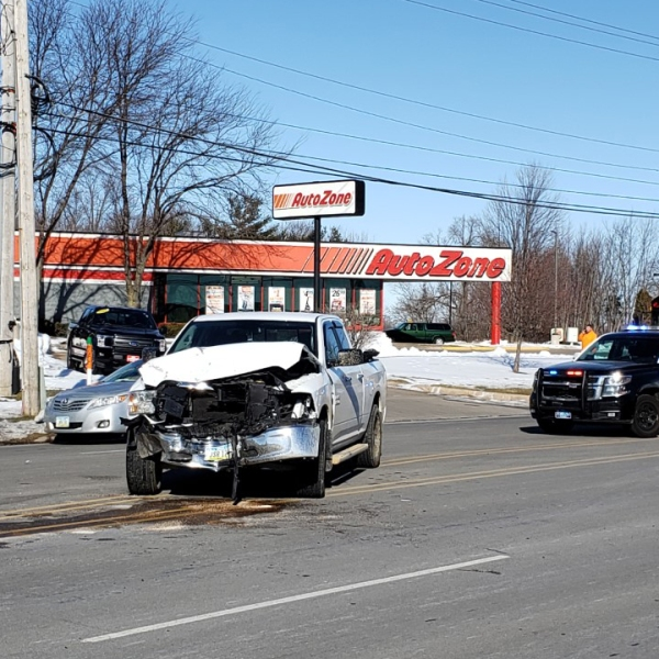 A pickup truck sustained significant damage when it collided with a second pickup truck on Middle Road and Devils Glen Road in Bettendorf, Iowa, on January 22, 2021 (photo: Bryan Bobb, OurQuadCities.com).