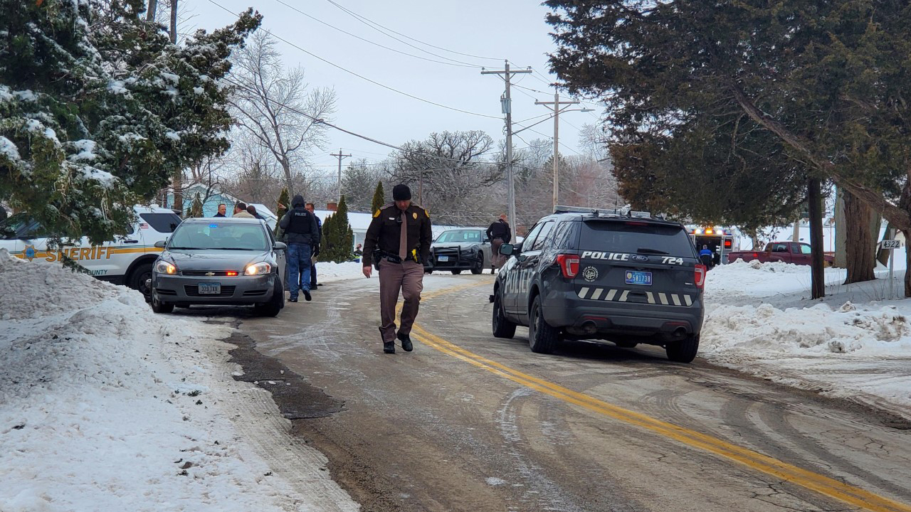 A police chase ends in the 4300 block of Telegraph Road in Davenport on January 8, 2021 (photo: Ryan Risky, OurQuadCities.com).