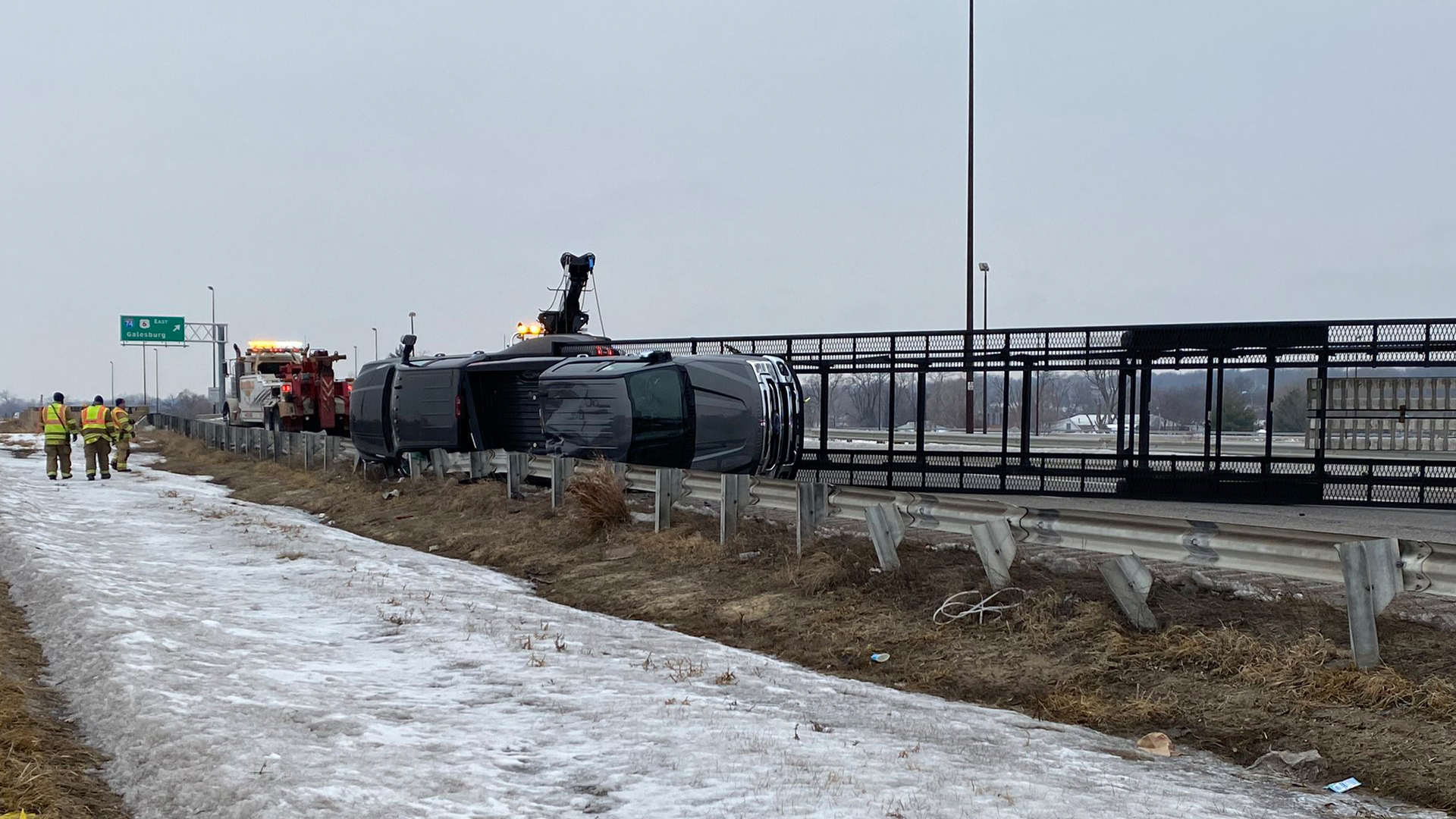 A semi rolled over on John Deere Road near the I-74 interchange in Moline on January 25, 2021 (photo: Zack Winiecki, OurQuadCities.com).