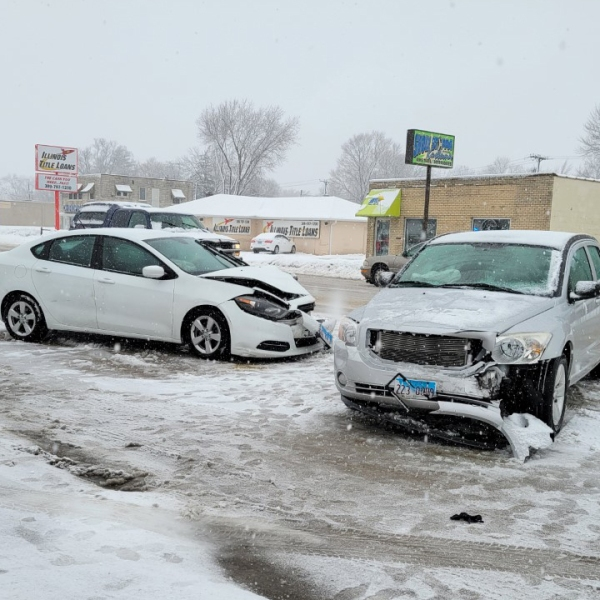 Two cars are damaged after an accident on Avenue of the Cities in Moline on February 4, 2021 (photo: Bryan Bobb, OurQuadCities.com).
